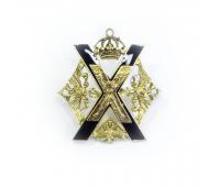 Миникопия знака Преображенского полка , латунь, эмаль, 20х20 мм